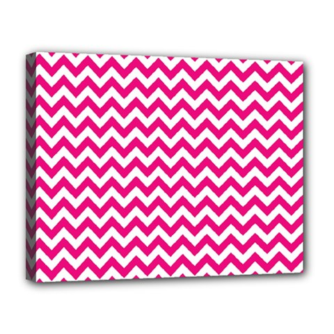 Hot Pink And White Zigzag Canvas 14  X 11  (framed) by Zandiepants