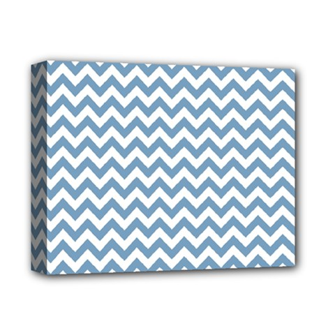 Blue And White Zigzag Deluxe Canvas 14  X 11  (framed) by Zandiepants