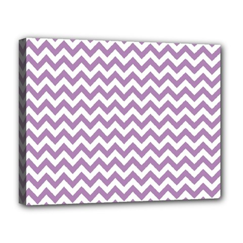 Lilac And White Zigzag Canvas 14  X 11  (framed) by Zandiepants