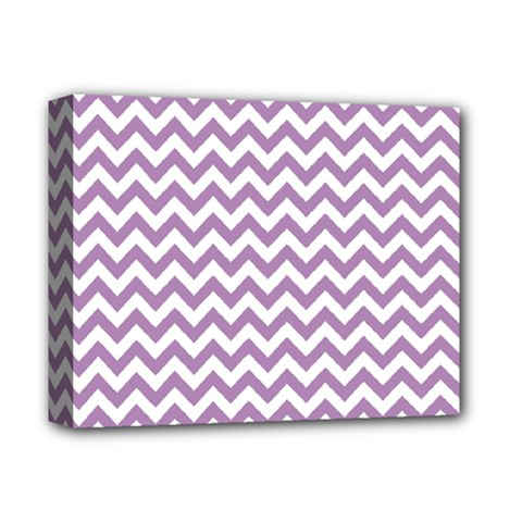 Lilac And White Zigzag Deluxe Canvas 14  X 11  (framed) by Zandiepants