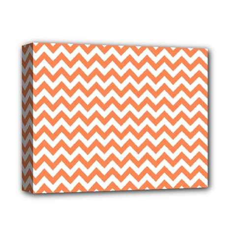 Orange And White Zigzag Deluxe Canvas 14  X 11  (framed) by Zandiepants