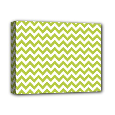 Spring Green And White Zigzag Pattern Deluxe Canvas 14  X 11  (framed) by Zandiepants