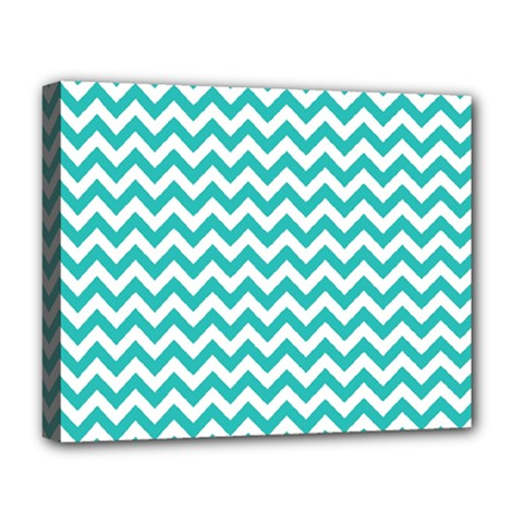 Turquoise And White Zigzag Pattern Deluxe Canvas 20  X 16  (framed) by Zandiepants
