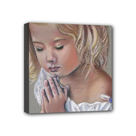 Prayinggirl Mini Canvas 4  x 4  (Framed)
