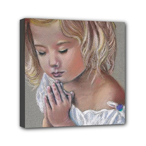 Prayinggirl Mini Canvas 6  x 6  (Framed)