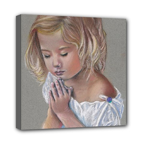 Prayinggirl Mini Canvas 8  x 8  (Framed)
