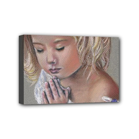 Prayinggirl Mini Canvas 6  x 4  (Framed)