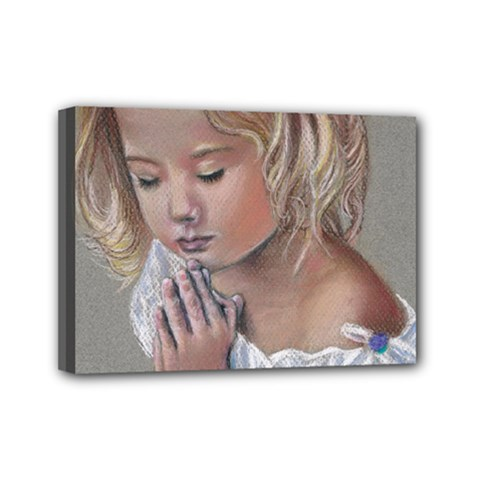 Prayinggirl Mini Canvas 7  x 5  (Framed)