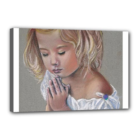 Prayinggirl Canvas 18  x 12  (Framed)