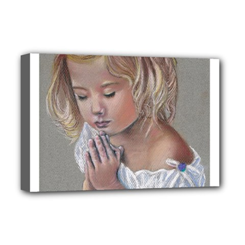 Prayinggirl Deluxe Canvas 18  x 12  (Framed)