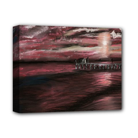 Pier At Midnight Deluxe Canvas 14  X 11  (framed) by TonyaButcher