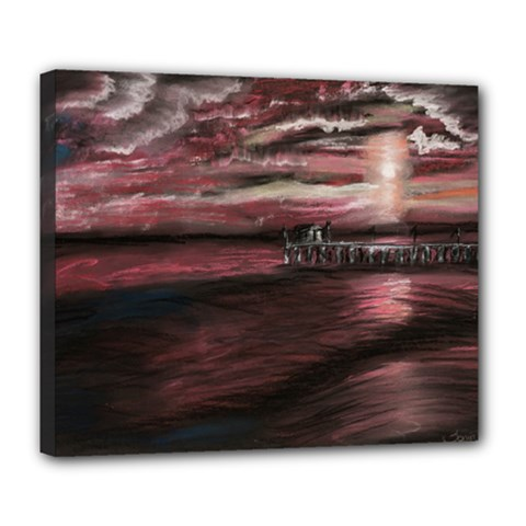 Pier At Midnight Deluxe Canvas 24  X 20  (framed) by TonyaButcher