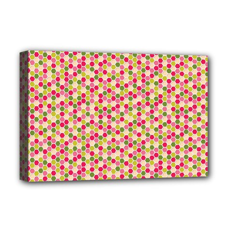 Pink Green Beehive Pattern Deluxe Canvas 18  X 12  (framed)