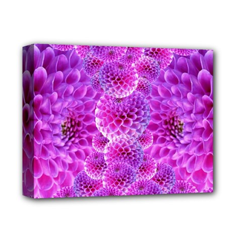Purple Dahlias Deluxe Canvas 14  X 11  (framed) by FunWithFibro