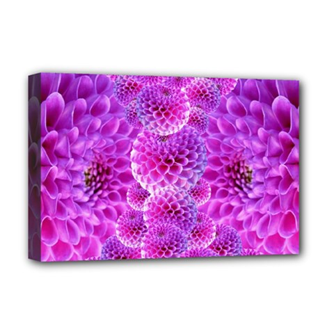 Purple Dahlias Deluxe Canvas 18  X 12  (framed) by FunWithFibro