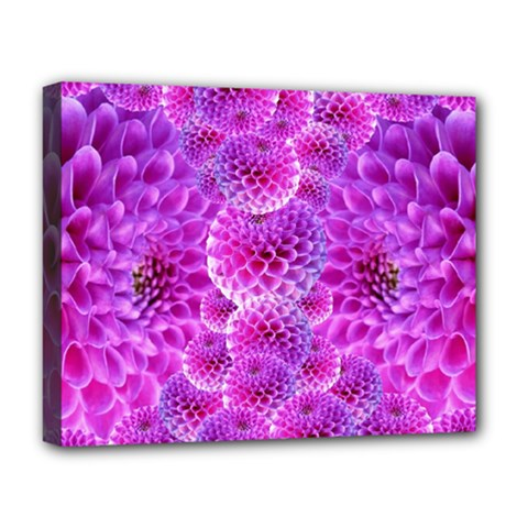 Purple Dahlias Deluxe Canvas 20  X 16  (framed) by FunWithFibro
