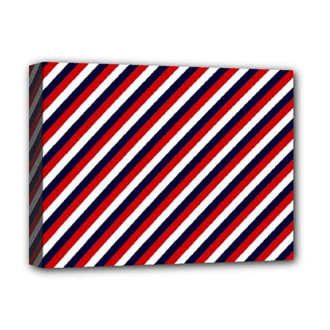 Diagonal Patriot Stripes Deluxe Canvas 16  X 12  (framed)  by StuffOrSomething