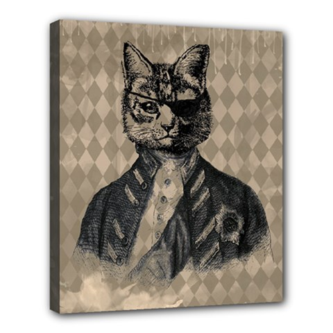 Harlequin Cat Deluxe Canvas 24  X 20  (framed) by StuffOrSomething