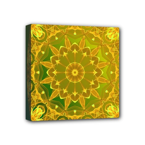 Yellow Green Abstract Wheel Of Fire Mini Canvas 4  X 4  (framed)