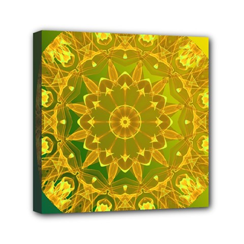 Yellow Green Abstract Wheel Of Fire Mini Canvas 6  X 6  (framed)