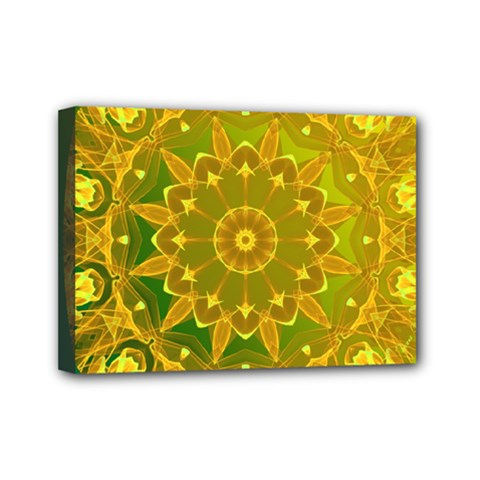 Yellow Green Abstract Wheel Of Fire Mini Canvas 7  X 5  (framed)