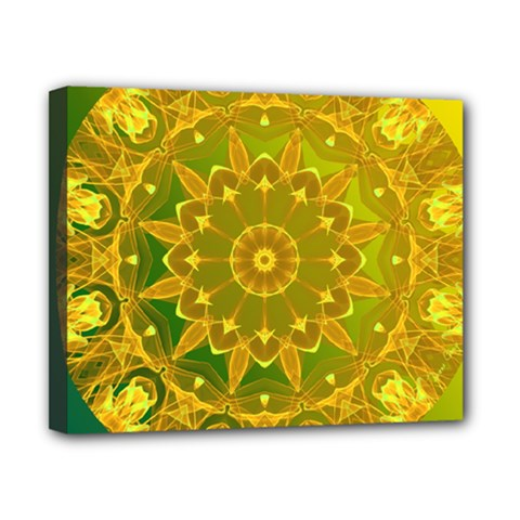 Yellow Green Abstract Wheel Of Fire Canvas 10  X 8  (framed) by DianeClancy