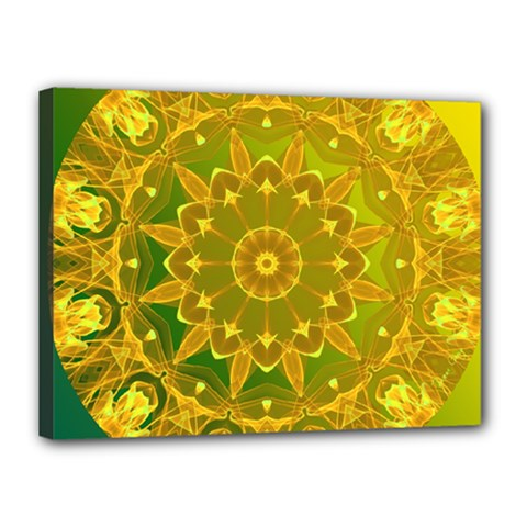Yellow Green Abstract Wheel Of Fire Canvas 16  X 12  (framed)