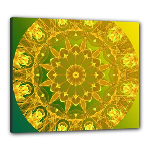 Yellow Green Abstract Wheel Of Fire Canvas 24  X 20  (framed)