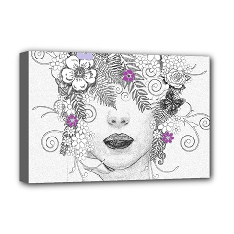 Flower Child Of Hope Deluxe Canvas 18  X 12  (framed) by FunWithFibro