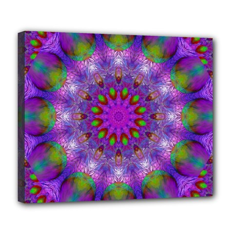 Rainbow At Dusk, Abstract Star Of Light Deluxe Canvas 24  X 20  (framed) by DianeClancy