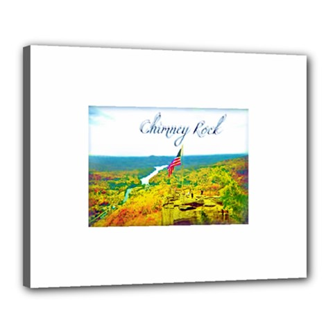 Chimney Rock Overlook Air Brushed Canvas 20  X 16  (framed) by Majesticmountain