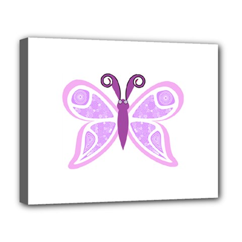 Whimsical Awareness Butterfly Deluxe Canvas 20  X 16  (framed) by FunWithFibro