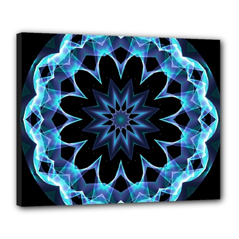 Crystal Star, Abstract Glowing Blue Mandala Canvas 20  X 16  (framed) by DianeClancy