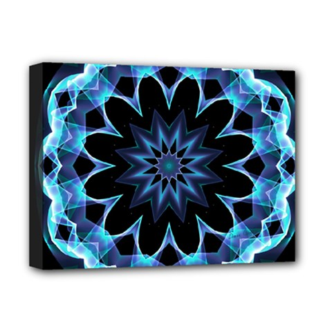 Crystal Star, Abstract Glowing Blue Mandala Deluxe Canvas 16  X 12  (framed)  by DianeClancy