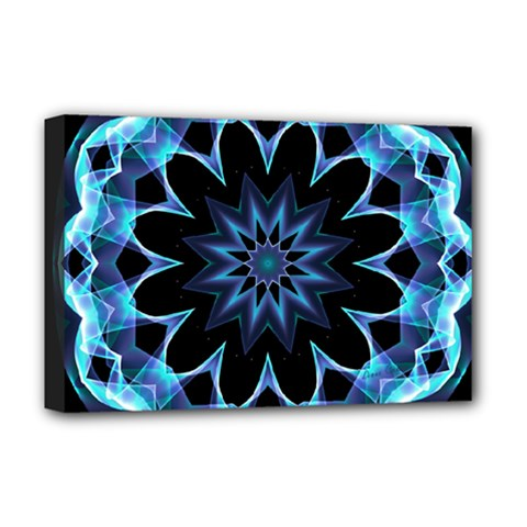 Crystal Star, Abstract Glowing Blue Mandala Deluxe Canvas 18  X 12  (framed) by DianeClancy