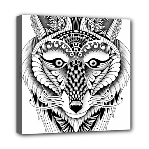 Ornate Foxy Wolf Mini Canvas 8  X 8  (framed) by Zandiepants