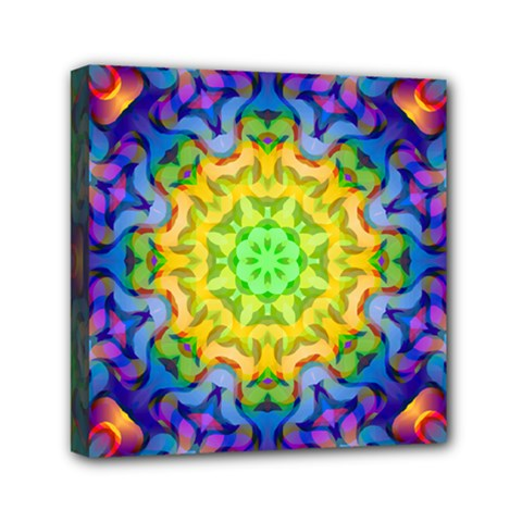 Psychedelic Abstract Mini Canvas 6  X 6  (framed) by Colorfulplayground