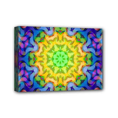 Psychedelic Abstract Mini Canvas 7  X 5  (framed) by Colorfulplayground