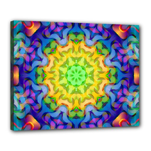 Psychedelic Abstract Canvas 20  X 16  (framed) by Colorfulplayground
