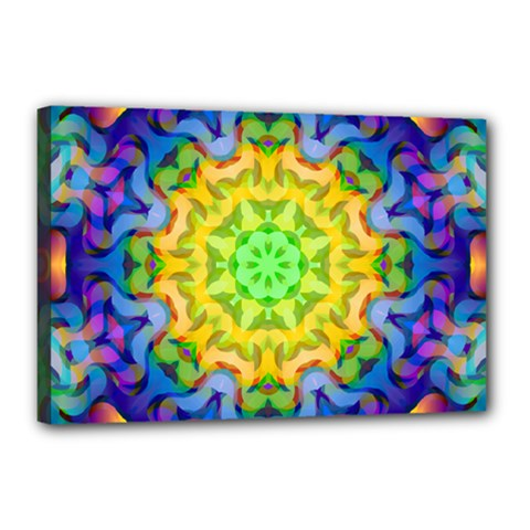 Psychedelic Abstract Canvas 18  X 12  (framed) by Colorfulplayground