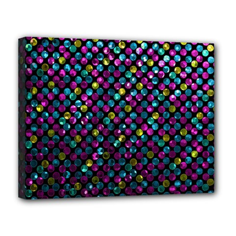Polka Dot Sparkley Jewels 2 Canvas 14  X 11  (framed) by MedusArt