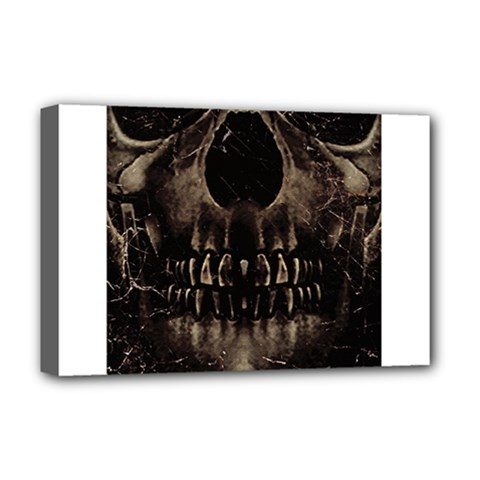 Skull Poster Background Deluxe Canvas 18  X 12  (framed) by dflcprints