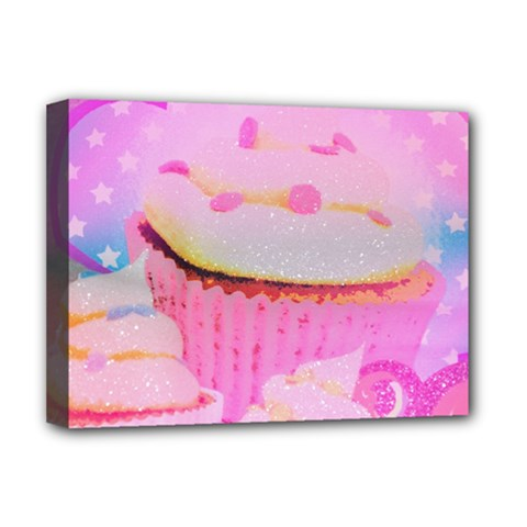 Cupcakes Covered In Sparkly Sugar Deluxe Canvas 16  X 12  (framed)