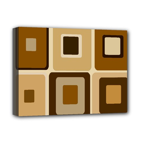 Retro Coffee Squares Deluxe Canvas 16  X 12  (framed)