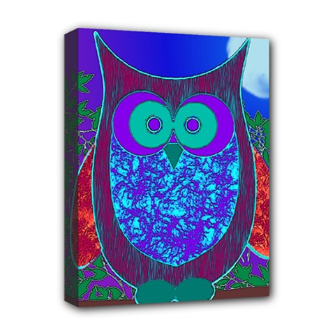 Moon Owl Deluxe Canvas 16  X 12  (framed)
