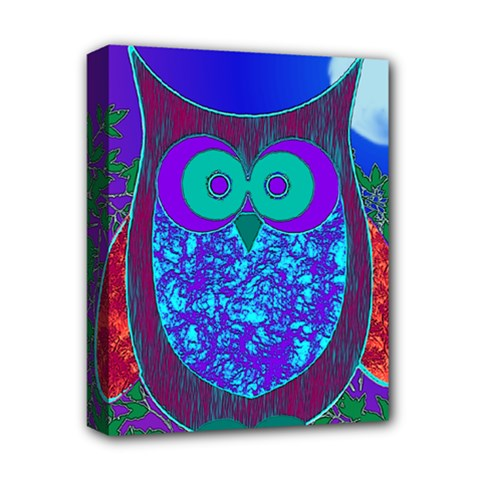 Moon Owl Deluxe Canvas 14  X 11  (framed)