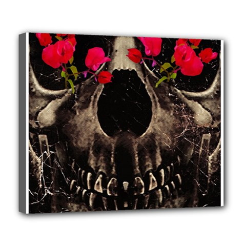 Death And Flowers Deluxe Canvas 24  X 20  (framed) by dflcprints