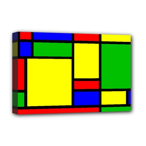 Mondrian Deluxe Canvas 18  X 12  (framed) by Siebenhuehner