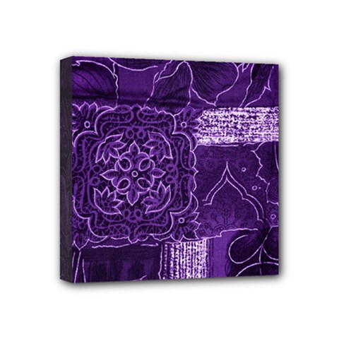 Pretty Purple Patchwork Mini Canvas 4  X 4  (framed) by FunWithFibro