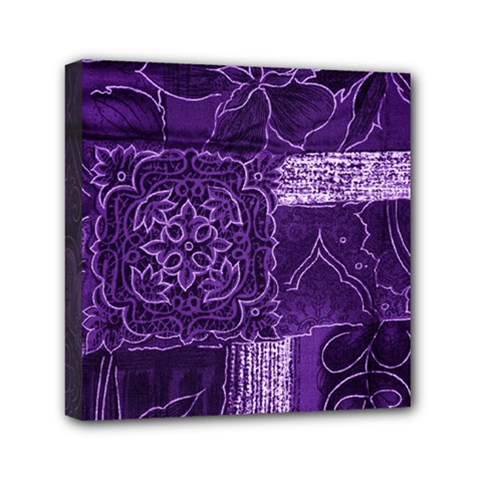 Pretty Purple Patchwork Mini Canvas 6  X 6  (framed) by FunWithFibro